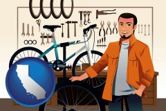 california map icon and bicycle shop mechanic