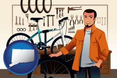 connecticut map icon and bicycle shop mechanic