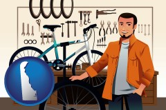 delaware map icon and bicycle shop mechanic