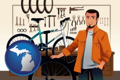 michigan map icon and bicycle shop mechanic