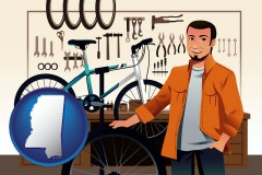 mississippi map icon and bicycle shop mechanic