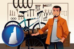 new-hampshire map icon and bicycle shop mechanic