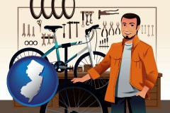 new-jersey map icon and bicycle shop mechanic