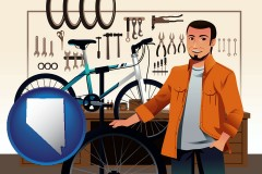 nevada map icon and bicycle shop mechanic
