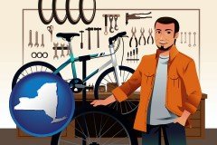 new-york map icon and bicycle shop mechanic