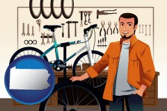 pennsylvania map icon and bicycle shop mechanic