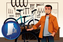 rhode-island map icon and bicycle shop mechanic