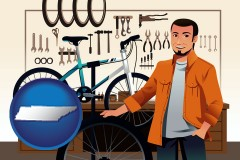 tennessee map icon and bicycle shop mechanic
