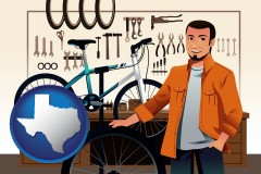 texas map icon and bicycle shop mechanic