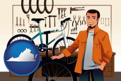 virginia map icon and bicycle shop mechanic