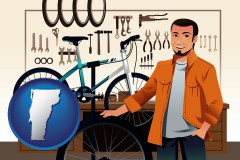 vermont map icon and bicycle shop mechanic