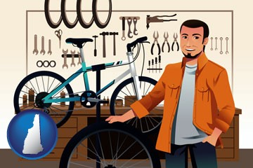 bicycle shop mechanic - with New Hampshire icon